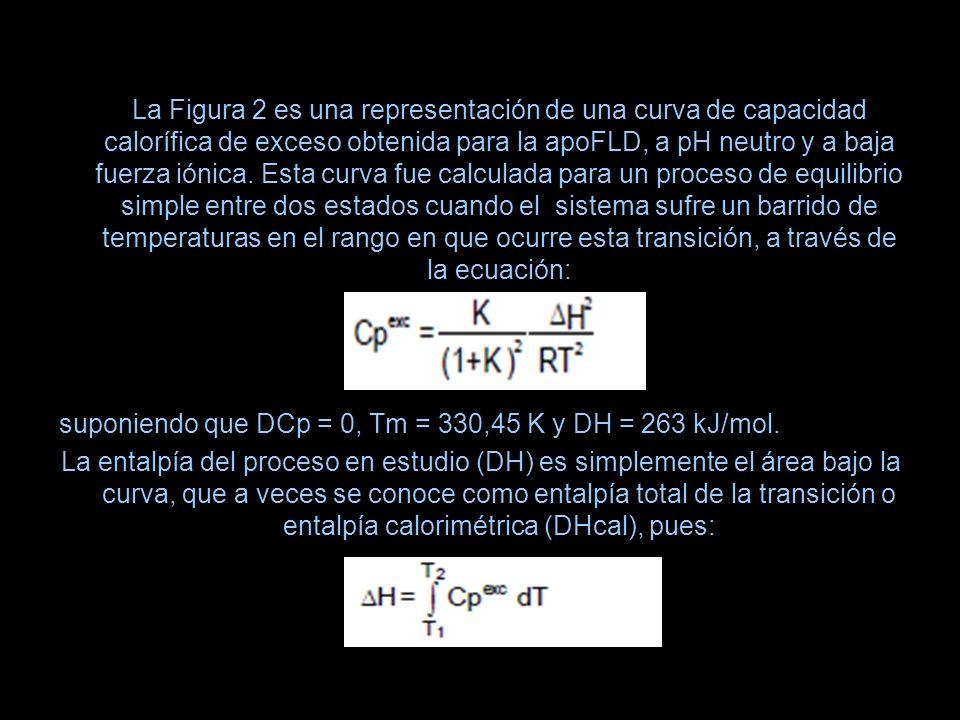 La Figura 2 es una representación de una curva de capacidad calorífica de exceso obtenida para la apoFLD, a pH neutro y a baja fuerza iónica. Esta cur