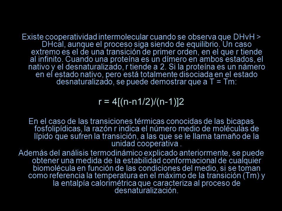 Existe cooperatividad intermolecular cuando se observa que DHvH > DHcal, aunque el proceso siga siendo de equilibrio. Un caso extremo es el de una tra