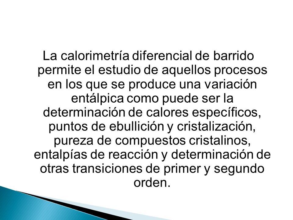 La calorimetría diferencial de barrido permite el estudio de aquellos procesos en los que se produce una variación entálpica como puede ser la determi