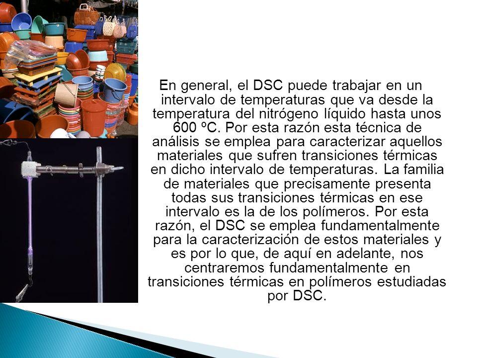 En general, el DSC puede trabajar en un intervalo de temperaturas que va desde la temperatura del nitrógeno líquido hasta unos 600 ºC. Por esta razón