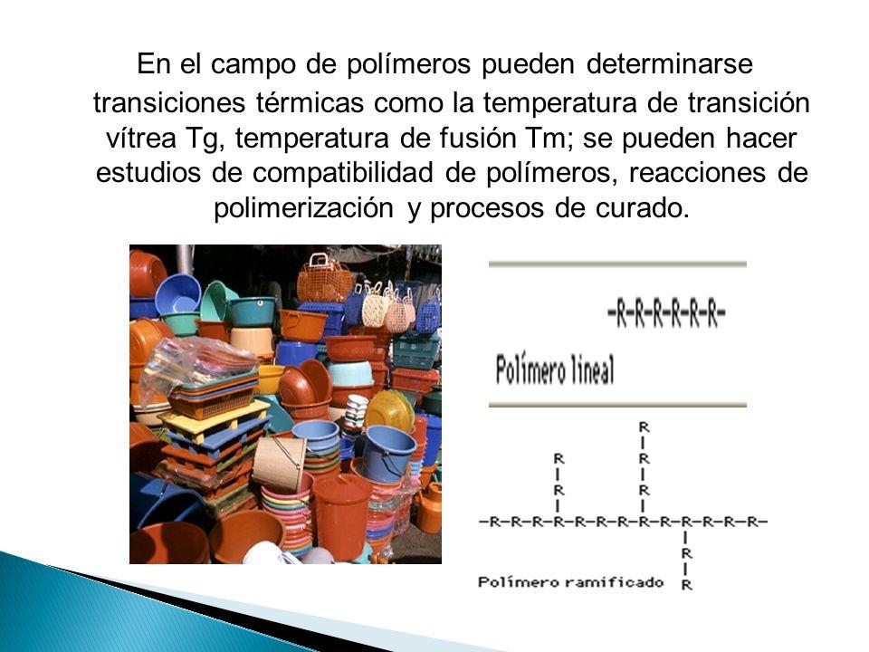 En el campo de polímeros pueden determinarse transiciones térmicas como la temperatura de transición vítrea Tg, temperatura de fusión Tm; se pueden ha