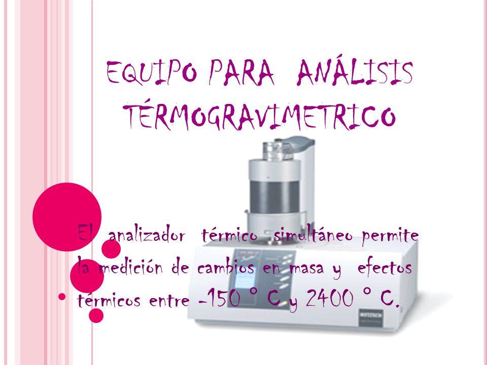 El analizador térmico simultáneo permite la medición de cambios en masa y efectos térmicos entre -150 ° C y 2400 ° C. EQUIPO PARA ANÁLISIS TÉRMOGRAVIM