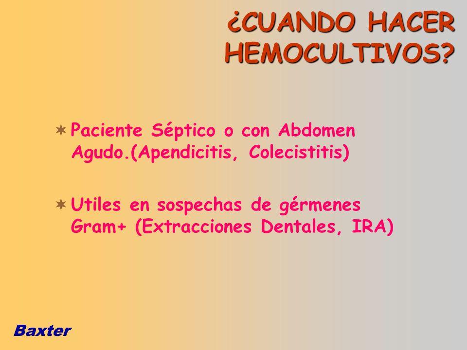 Baxter ¿CUANDO HACER HEMOCULTIVOS? Paciente Séptico o con Abdomen Agudo.(Apendicitis, Colecistitis) Utiles en sospechas de gérmenes Gram+ (Extraccione