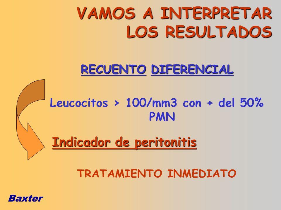 Baxter VAMOS A INTERPRETAR LOS RESULTADOS RECUENTO DIFERENCIAL Leucocitos > 100/mm3 con + del 50% PMN Indicador de peritonitis TRATAMIENTO INMEDIATO