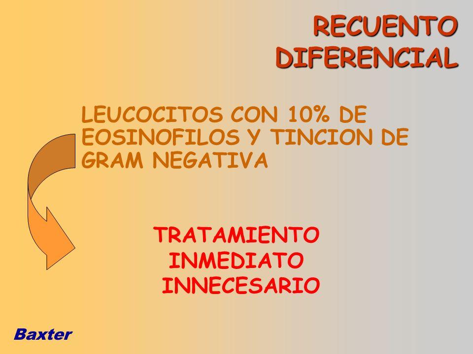 Baxter LEUCOCITOS CON 10% DE EOSINOFILOS Y TINCION DE GRAM NEGATIVA TRATAMIENTO INMEDIATO INNECESARIO RECUENTO DIFERENCIAL