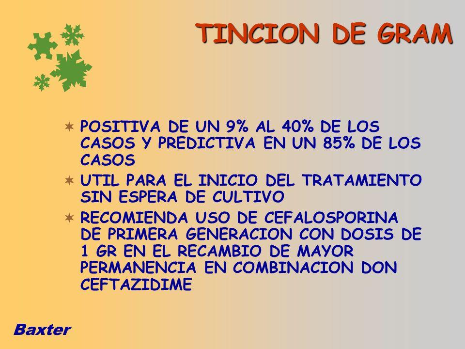 Baxter TINCION DE GRAM POSITIVA DE UN 9% AL 40% DE LOS CASOS Y PREDICTIVA EN UN 85% DE LOS CASOS UTIL PARA EL INICIO DEL TRATAMIENTO SIN ESPERA DE CUL