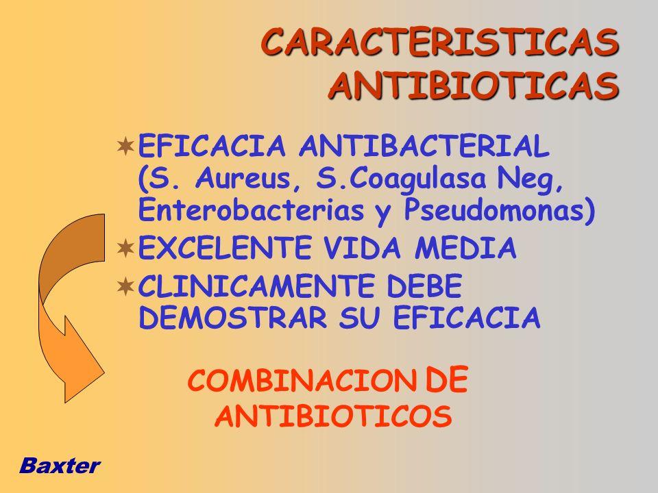 Baxter CARACTERISTICAS ANTIBIOTICAS EFICACIA ANTIBACTERIAL (S. Aureus, S.Coagulasa Neg, Enterobacterias y Pseudomonas) EXCELENTE VIDA MEDIA CLINICAMEN