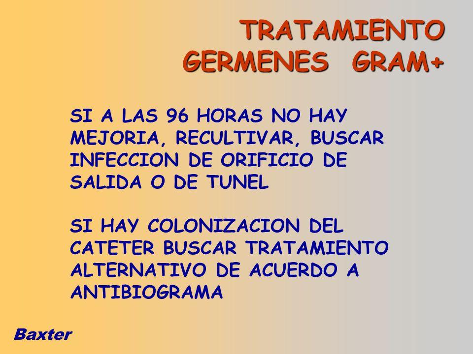 Baxter TRATAMIENTO GERMENES GRAM+ SI A LAS 96 HORAS NO HAY MEJORIA, RECULTIVAR, BUSCAR INFECCION DE ORIFICIO DE SALIDA O DE TUNEL SI HAY COLONIZACION