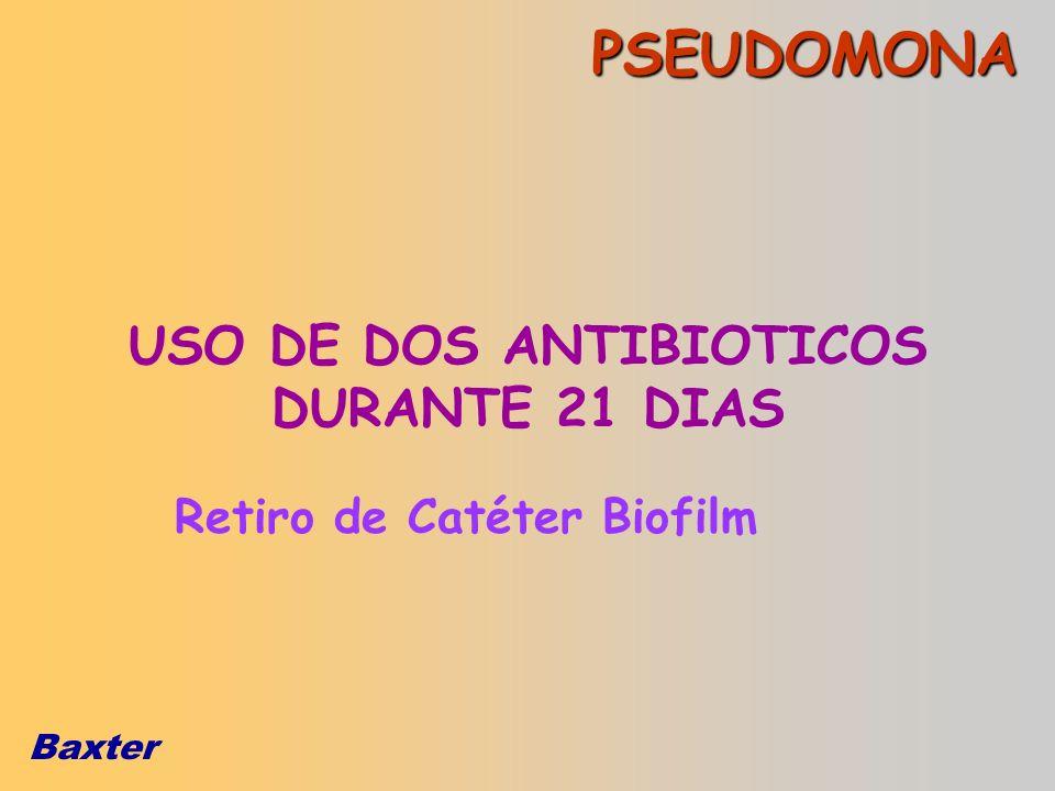 Baxter PSEUDOMONA Retiro de Catéter Biofilm USO DE DOS ANTIBIOTICOS DURANTE 21 DIAS