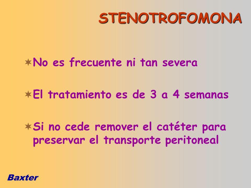 Baxter STENOTROFOMONA No es frecuente ni tan severa El tratamiento es de 3 a 4 semanas Si no cede remover el catéter para preservar el transporte peri