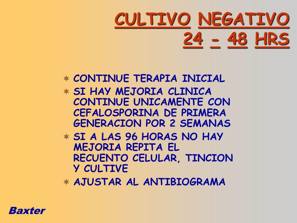 Baxter CULTIVO NEGATIVO 24 - 48 HRS CONTINUE TERAPIA INICIAL SI HAY MEJORIA CLINICA CONTINUE UNICAMENTE CON CEFALOSPORINA DE PRIMERA GENERACION POR 2