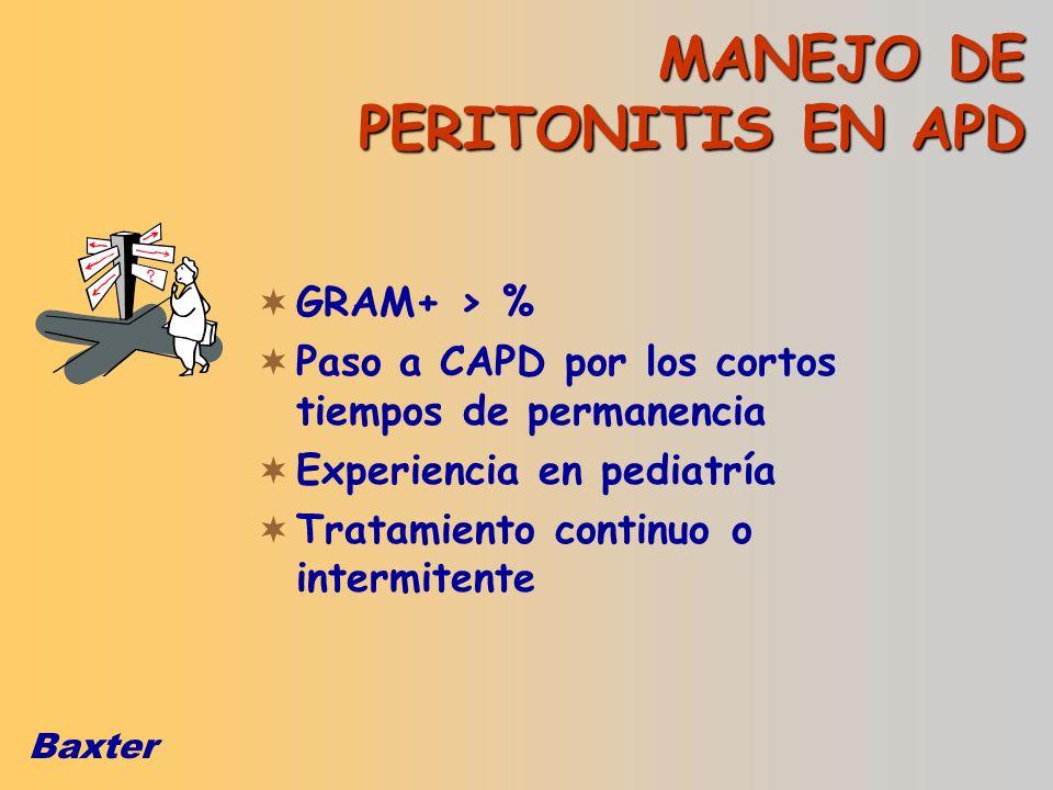Baxter MANEJO DE PERITONITIS EN APD GRAM+ > % Paso a CAPD por los cortos tiempos de permanencia Experiencia en pediatría Tratamiento continuo o interm
