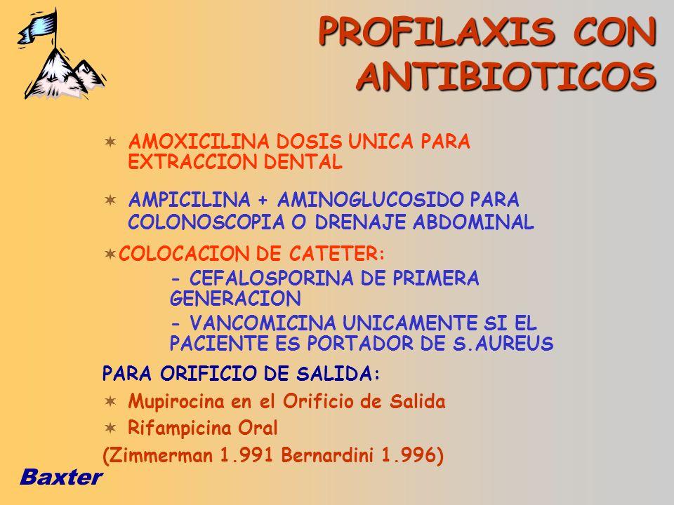 Baxter PROFILAXIS CON ANTIBIOTICOS AMOXICILINA DOSIS UNICA PARA EXTRACCION DENTAL COLOCACION DE CATETER: - CEFALOSPORINA DE PRIMERA GENERACION - VANCO
