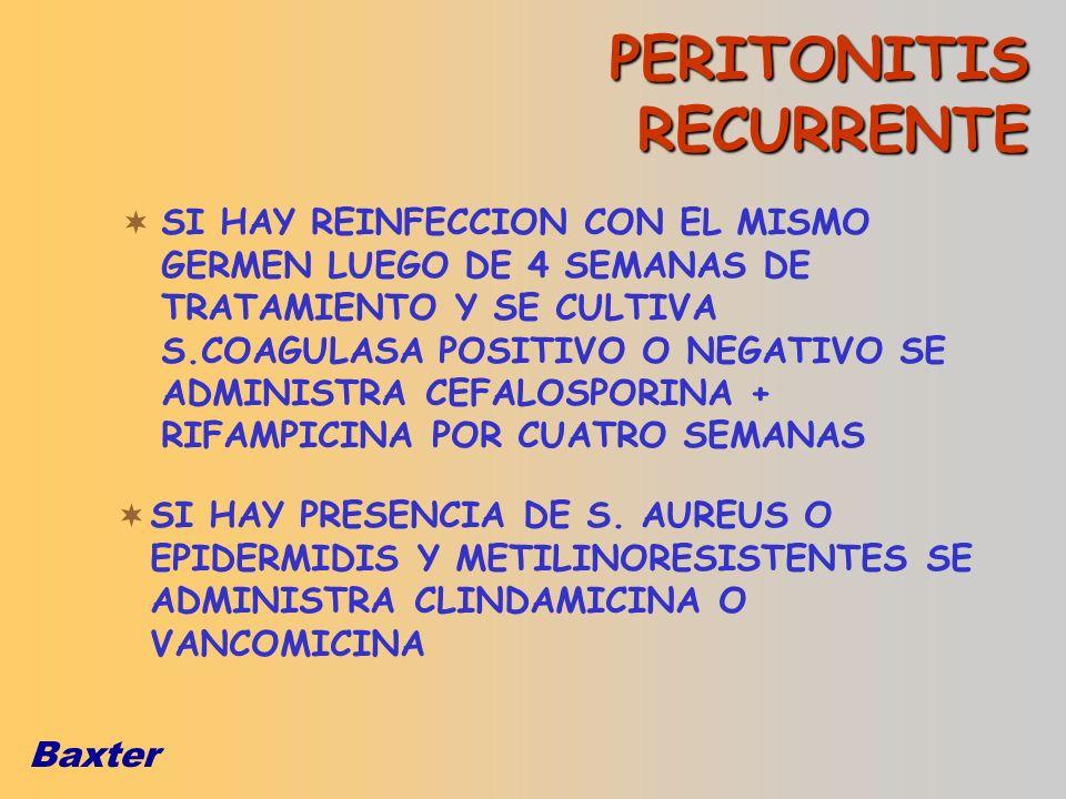 Baxter PERITONITIS RECURRENTE SI HAY REINFECCION CON EL MISMO GERMEN LUEGO DE 4 SEMANAS DE TRATAMIENTO Y SE CULTIVA S.COAGULASA POSITIVO O NEGATIVO SE