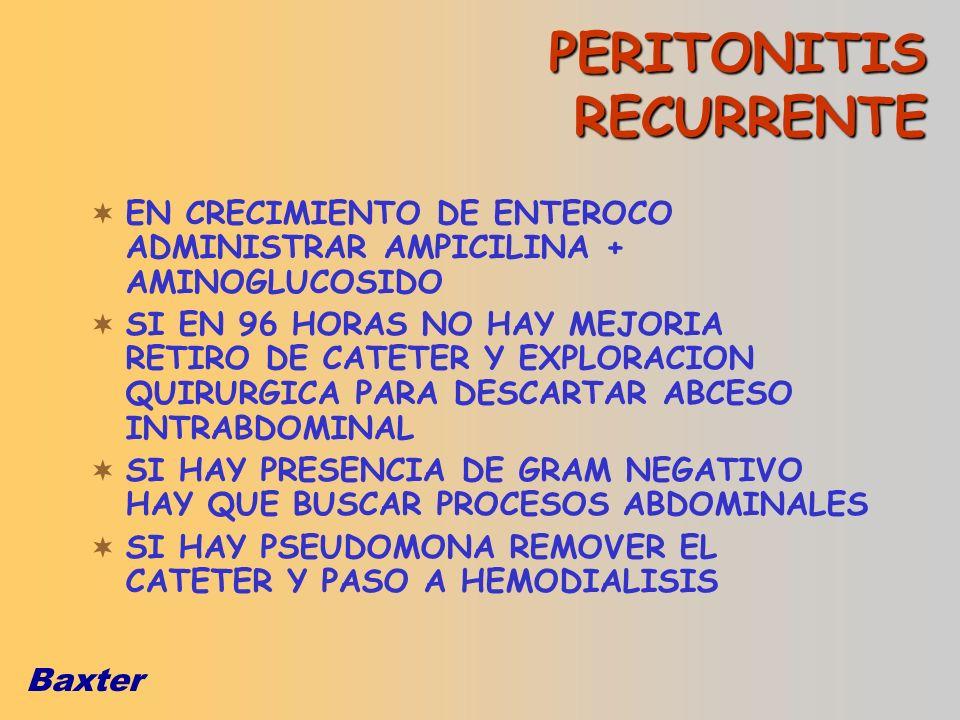 Baxter EN CRECIMIENTO DE ENTEROCO ADMINISTRAR AMPICILINA + AMINOGLUCOSIDO SI EN 96 HORAS NO HAY MEJORIA RETIRO DE CATETER Y EXPLORACION QUIRURGICA PAR