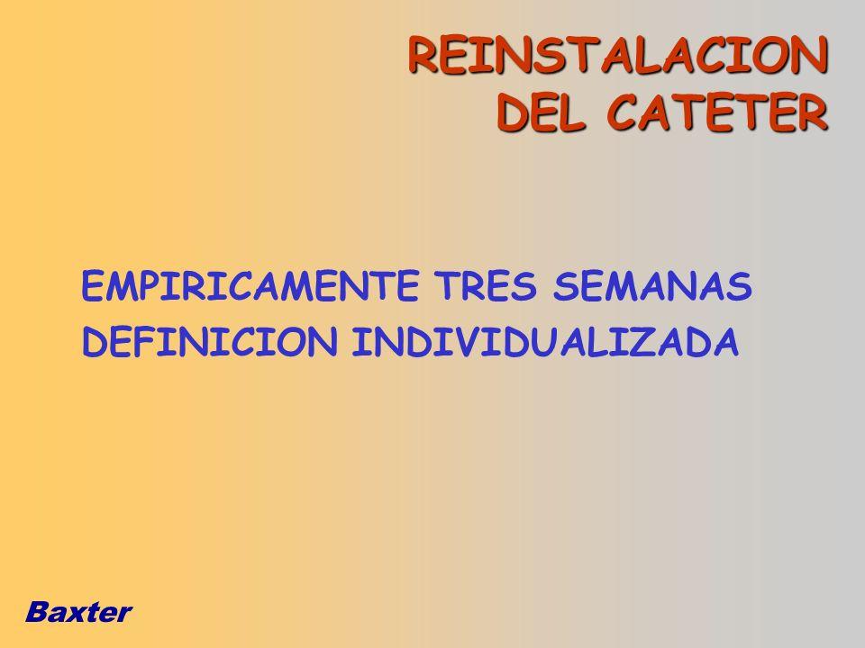 Baxter REINSTALACION DEL CATETER EMPIRICAMENTE TRES SEMANAS DEFINICION INDIVIDUALIZADA