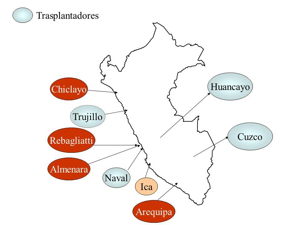 Dirección de Trasplantes 2001 EsSalud 145481.27% FF.AA y PNP27915.60% Particulares 56 3.13% TOTAL 1789 100.00% Particulares 3.13% FF.AA. Y PNP 15.60%