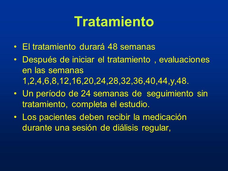 Tratamiento El tratamiento durará 48 semanas Después de iniciar el tratamiento, evaluaciones en las semanas 1,2,4,6,8,12,16,20,24,28,32,36,40,44,y,48.