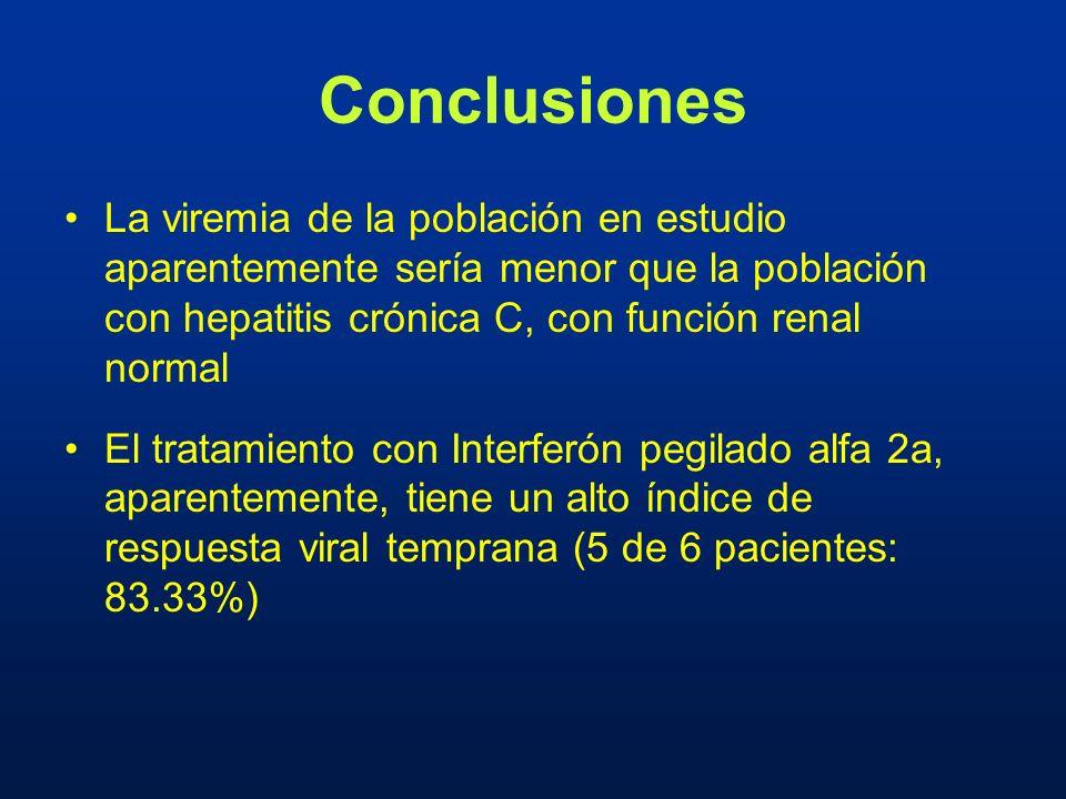 Conclusiones La viremia de la población en estudio aparentemente sería menor que la población con hepatitis crónica C, con función renal normal El tra
