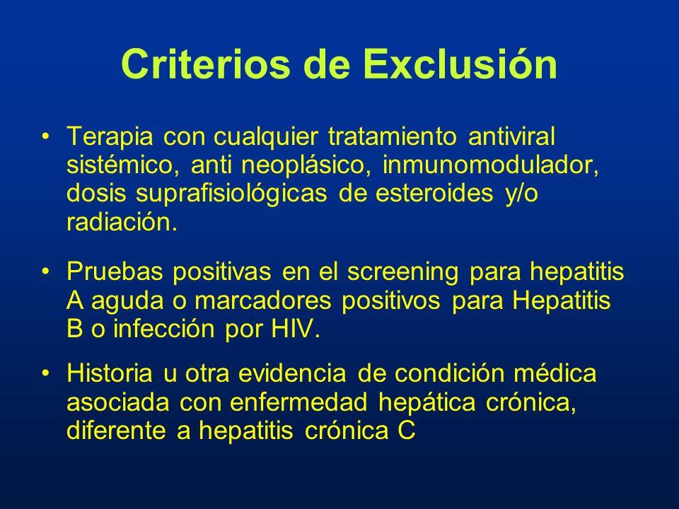 Terapia con cualquier tratamiento antiviral sistémico, anti neoplásico, inmunomodulador, dosis suprafisiológicas de esteroides y/o radiación. Pruebas