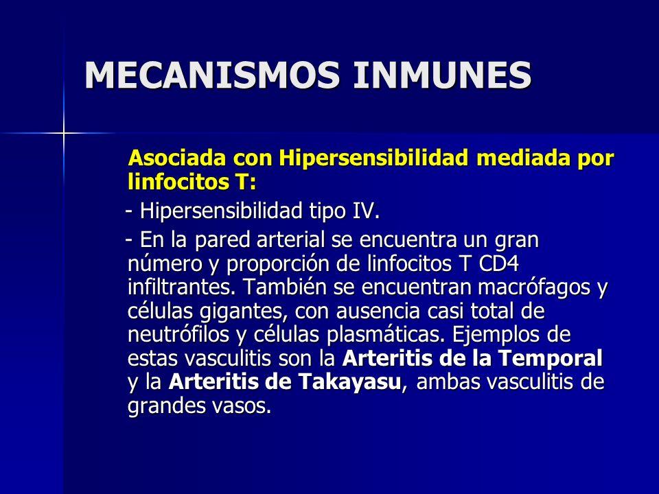 MECANISMOS INMUNES Asociada con Hipersensibilidad mediada por linfocitos T: Asociada con Hipersensibilidad mediada por linfocitos T: - Hipersensibilid