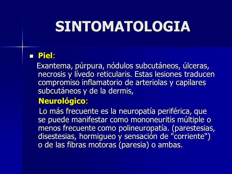 SINTOMATOLOGIA Piel: Piel: Exantema, púrpura, nódulos subcutáneos, úlceras, necrosis y lívedo reticularis. Estas lesiones traducen compromiso inflamat