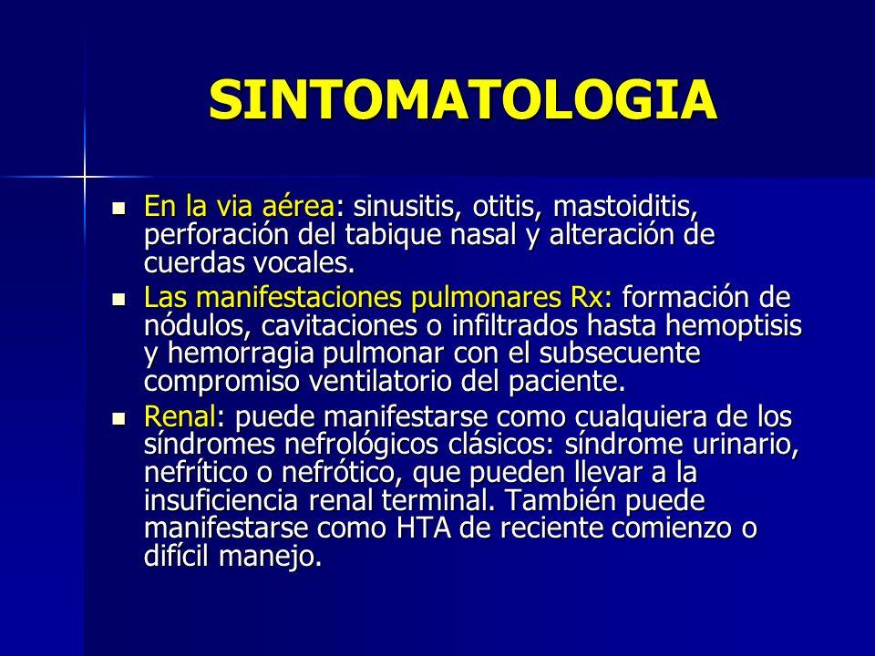 SINTOMATOLOGIA En la via aérea: sinusitis, otitis, mastoiditis, perforación del tabique nasal y alteración de cuerdas vocales. En la via aérea: sinusi