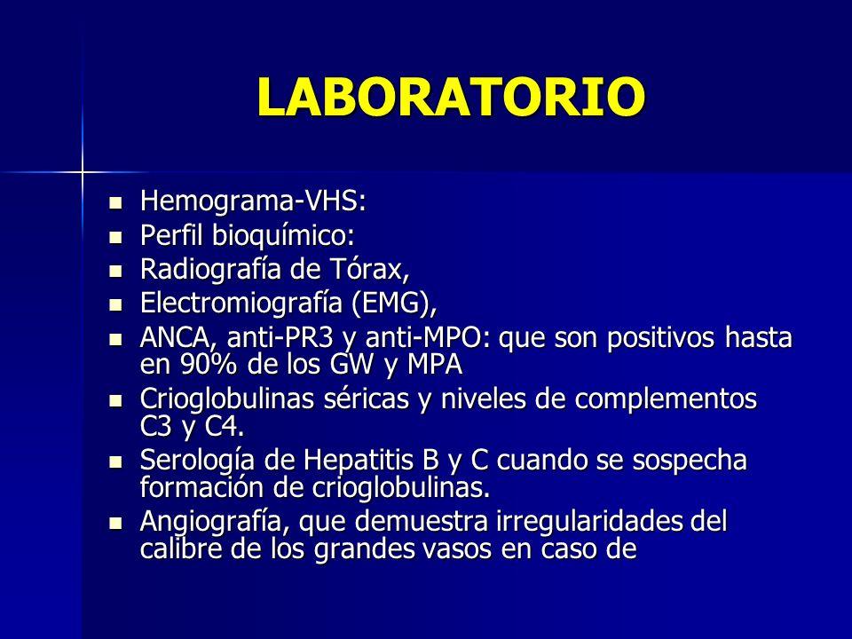 LABORATORIO Hemograma-VHS: Hemograma-VHS: Perfil bioquímico: Perfil bioquímico: Radiografía de Tórax, Radiografía de Tórax, Electromiografía (EMG), El