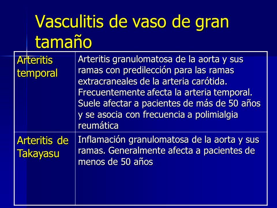Vasculitis de vaso de gran tamaño Arteritis temporal Arteritis granulomatosa de la aorta y sus ramas con predilección para las ramas extracraneales de