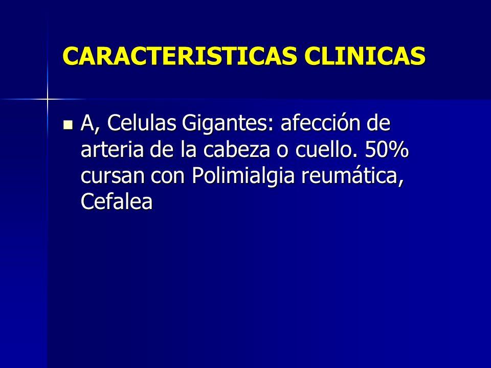 CARACTERISTICAS CLINICAS A, Celulas Gigantes: afección de arteria de la cabeza o cuello. 50% cursan con Polimialgia reumática, Cefalea A, Celulas Giga