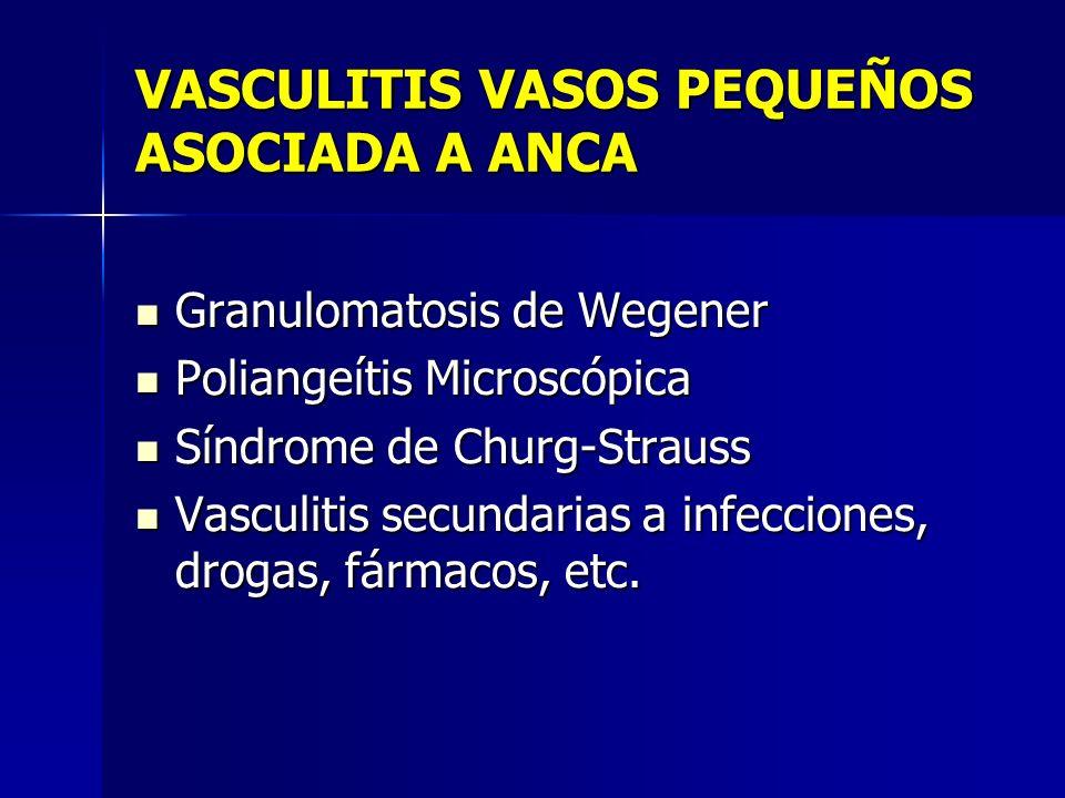 Vasculitis de vaso de pequeño tamaño Granulomatosis de Wegener Inflamación granulomatosa con afectación del tracto respiratorio y vasculitis necrotizante de vasos de pequeño y mediano calibre (capilares, venulas, arteriolas y arterias).