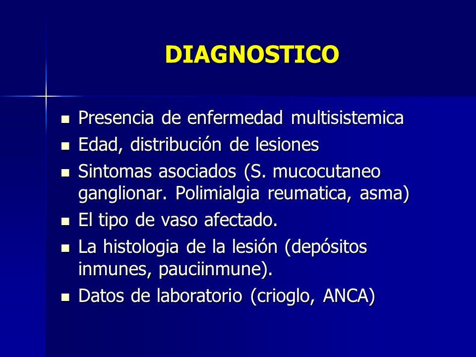 DIAGNOSTICO Presencia de enfermedad multisistemica Presencia de enfermedad multisistemica Edad, distribución de lesiones Edad, distribución de lesione
