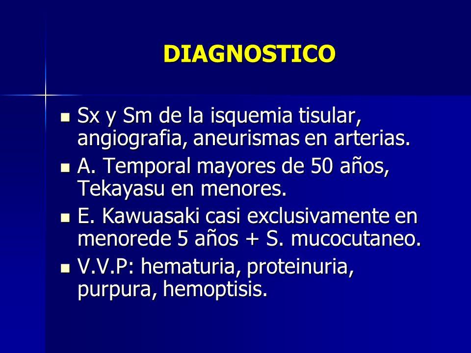 DIAGNOSTICO Sx y Sm de la isquemia tisular, angiografia, aneurismas en arterias. Sx y Sm de la isquemia tisular, angiografia, aneurismas en arterias.