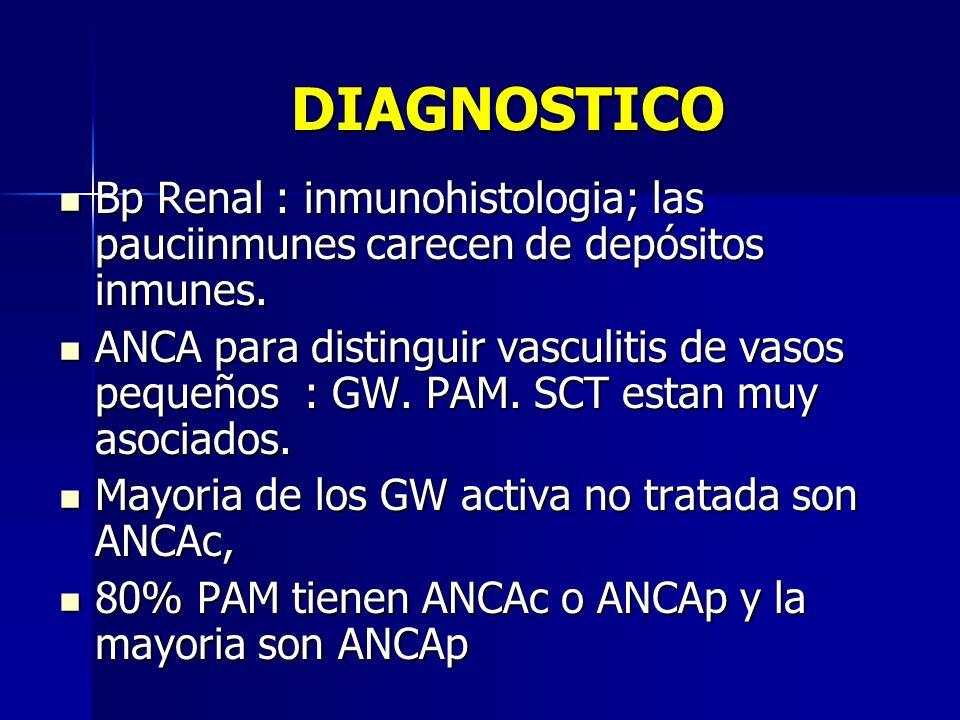 DIAGNOSTICO Bp Renal : inmunohistologia; las pauciinmunes carecen de depósitos inmunes. Bp Renal : inmunohistologia; las pauciinmunes carecen de depós
