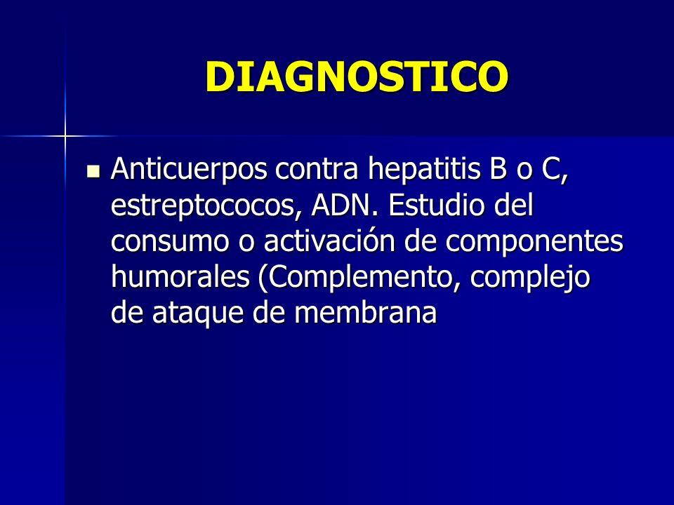 DIAGNOSTICO Anticuerpos contra hepatitis B o C, estreptococos, ADN. Estudio del consumo o activación de componentes humorales (Complemento, complejo d
