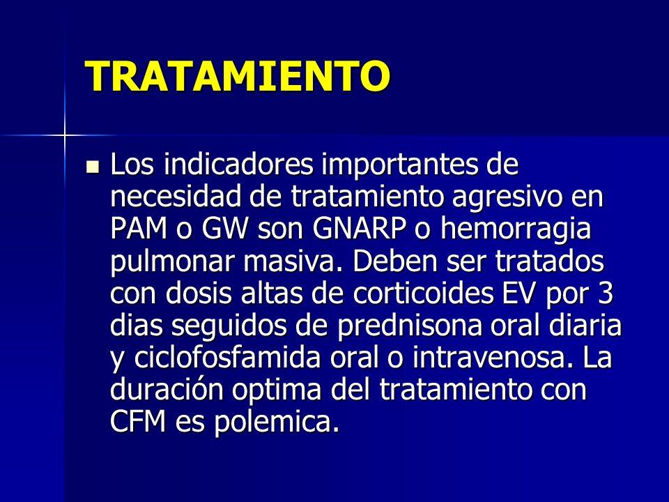 TRATAMIENTO Los indicadores importantes de necesidad de tratamiento agresivo en PAM o GW son GNARP o hemorragia pulmonar masiva. Deben ser tratados co