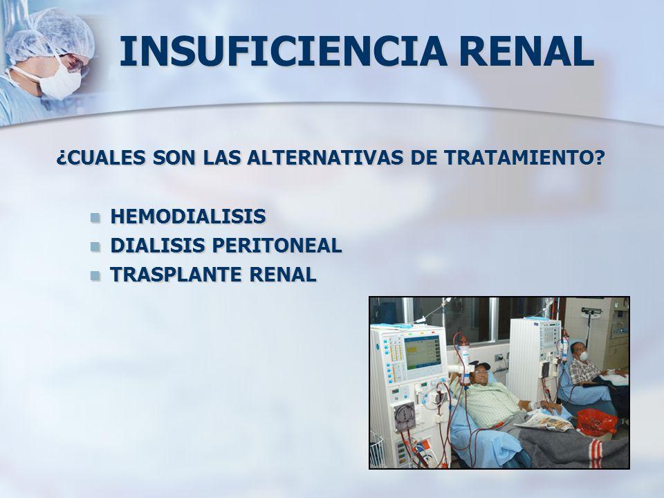 INSUFICIENCIA RENAL ¿CUALES SON LAS ALTERNATIVAS DE TRATAMIENTO? HEMODIALISIS HEMODIALISIS DIALISIS PERITONEAL DIALISIS PERITONEAL TRASPLANTE RENAL TR
