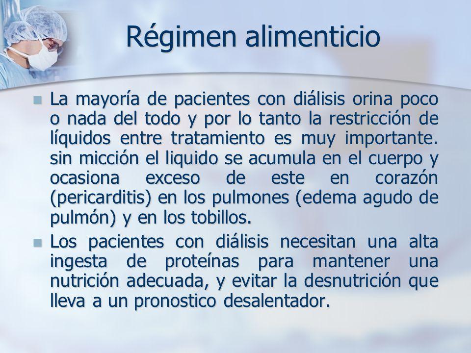 La mayoría de pacientes con diálisis orina poco o nada del todo y por lo tanto la restricción de líquidos entre tratamiento es muy importante. sin mic
