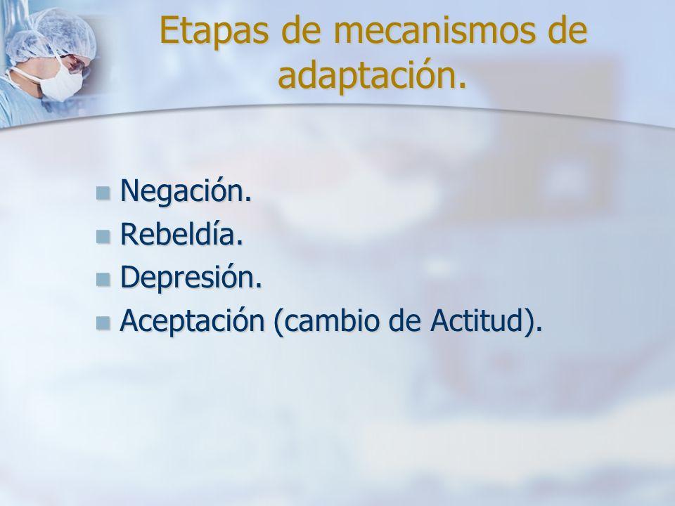 Etapas de mecanismos de adaptación. Negación. Negación. Rebeldía. Rebeldía. Depresión. Depresión. Aceptación (cambio de Actitud). Aceptación (cambio d