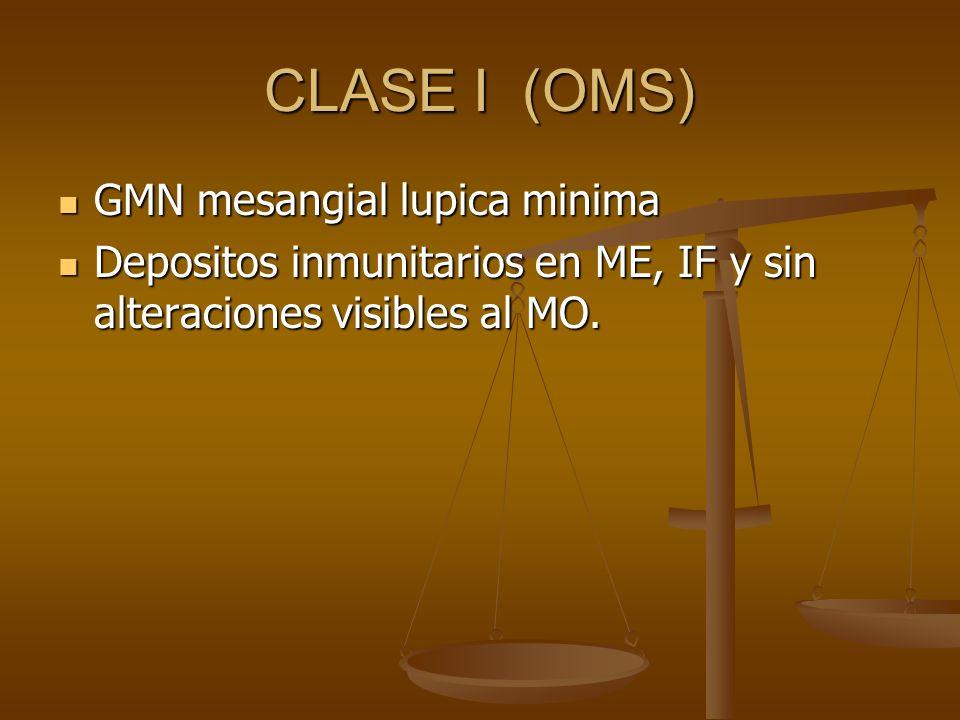CLASE I (OMS) GMN mesangial lupica minima GMN mesangial lupica minima Depositos inmunitarios en ME, IF y sin alteraciones visibles al MO. Depositos in