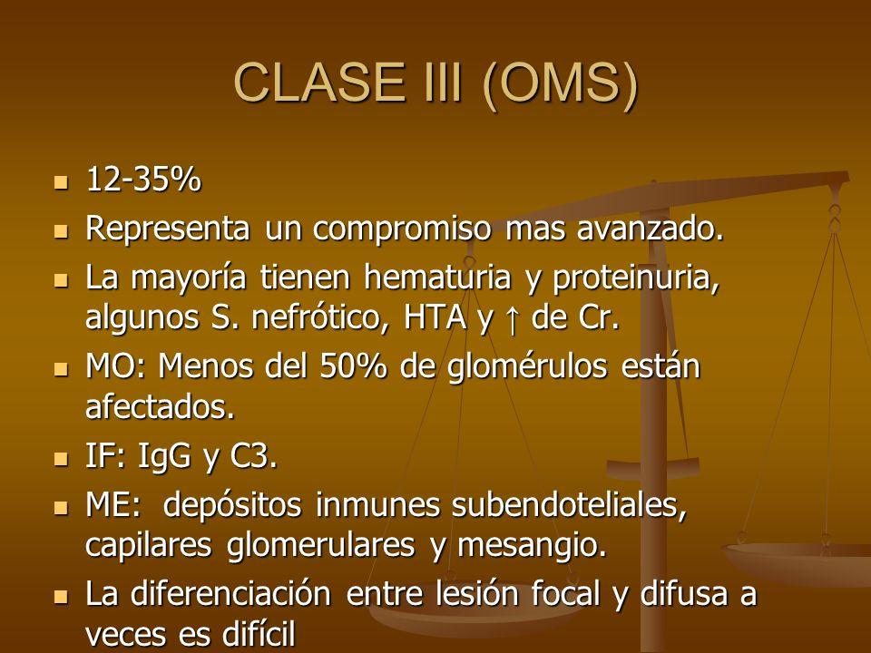 CLASE III (OMS) 12-35% 12-35% Representa un compromiso mas avanzado. Representa un compromiso mas avanzado. La mayoría tienen hematuria y proteinuria,