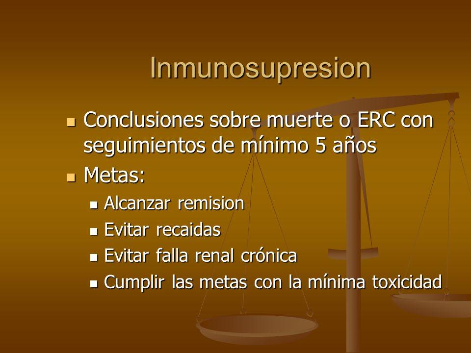 Inmunosupresion Conclusiones sobre muerte o ERC con seguimientos de mínimo 5 años Conclusiones sobre muerte o ERC con seguimientos de mínimo 5 años Me