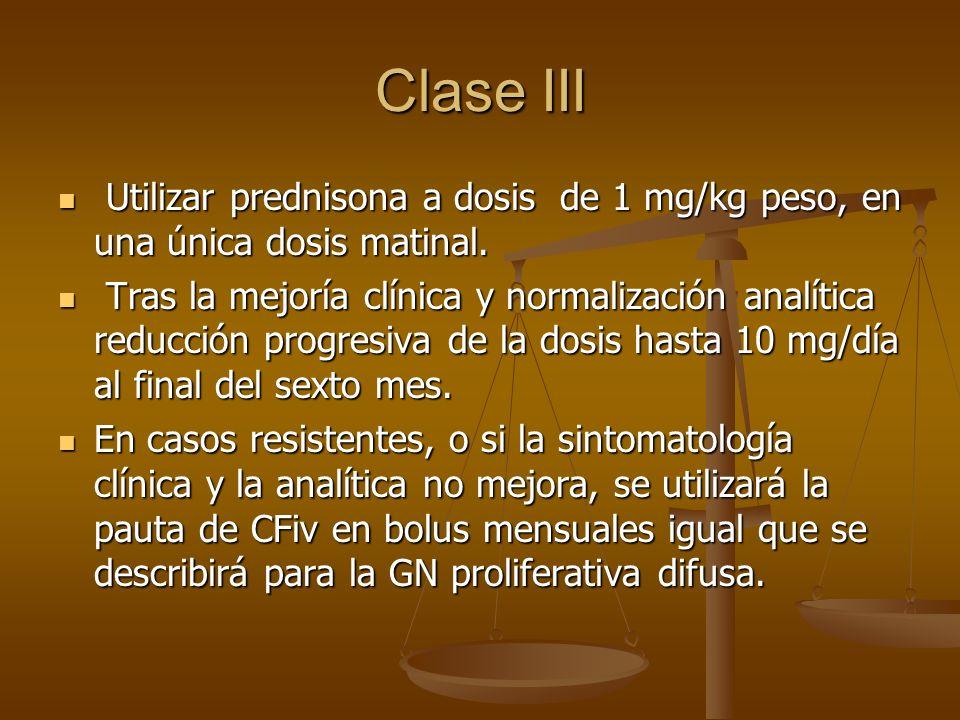 Clase III Utilizar prednisona a dosis de 1 mg/kg peso, en una única dosis matinal. Utilizar prednisona a dosis de 1 mg/kg peso, en una única dosis mat