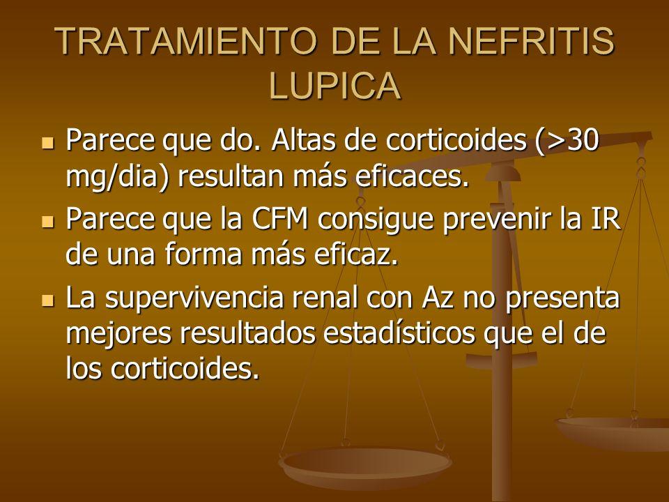 TRATAMIENTO DE LA NEFRITIS LUPICA Parece que do. Altas de corticoides (>30 mg/dia) resultan más eficaces. Parece que do. Altas de corticoides (>30 mg/