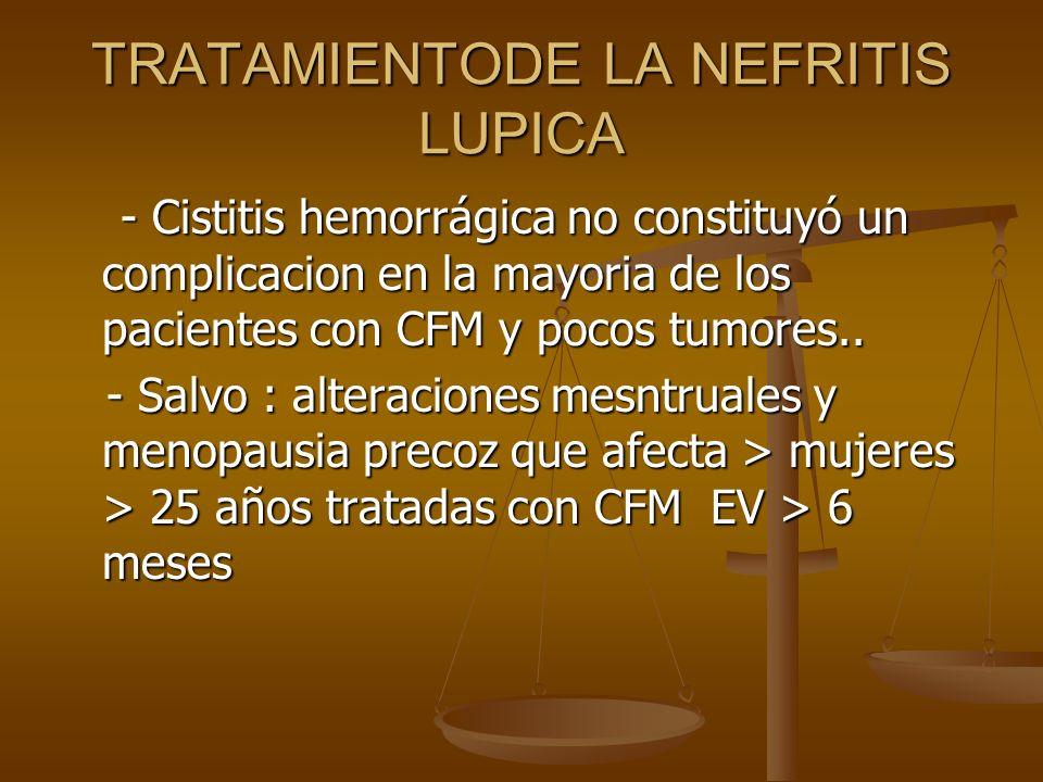 TRATAMIENTODE LA NEFRITIS LUPICA - Cistitis hemorrágica no constituyó un complicacion en la mayoria de los pacientes con CFM y pocos tumores.. - Cisti