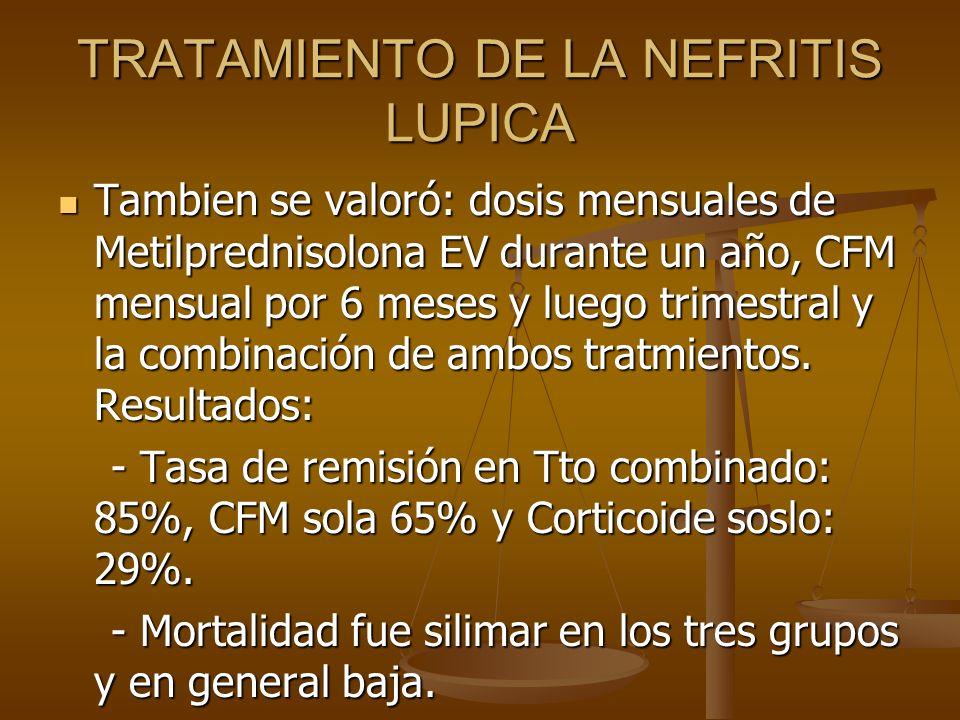 TRATAMIENTO DE LA NEFRITIS LUPICA Tambien se valoró: dosis mensuales de Metilprednisolona EV durante un año, CFM mensual por 6 meses y luego trimestra