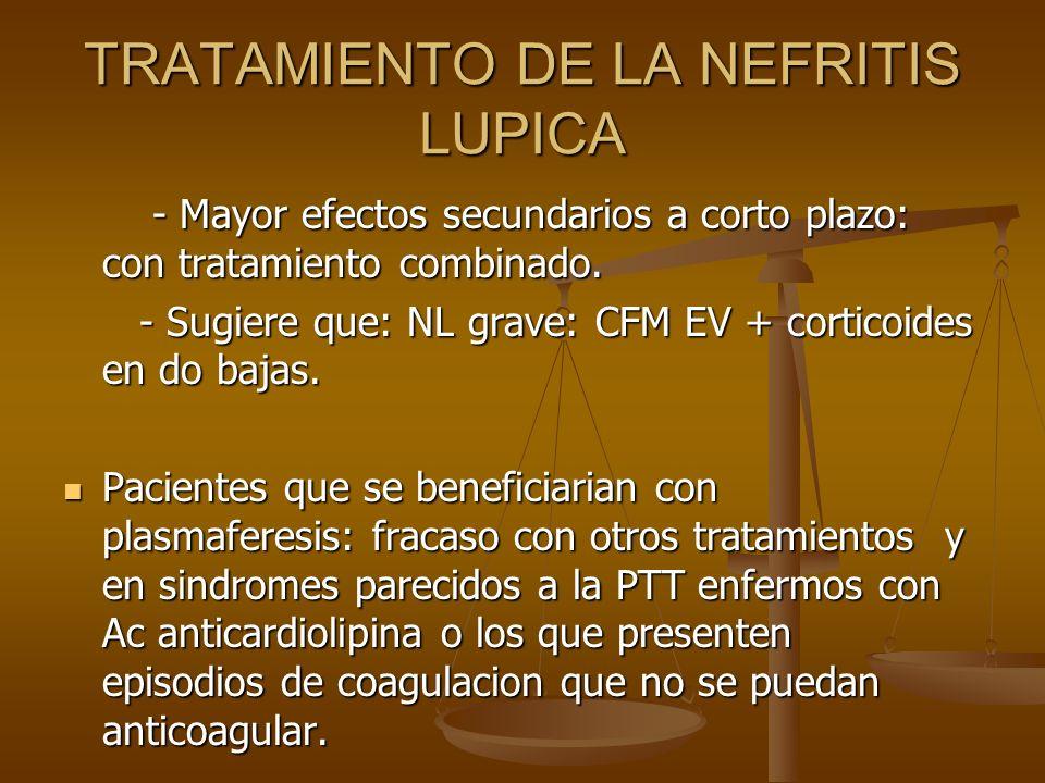 TRATAMIENTO DE LA NEFRITIS LUPICA - Mayor efectos secundarios a corto plazo: con tratamiento combinado. - Mayor efectos secundarios a corto plazo: con