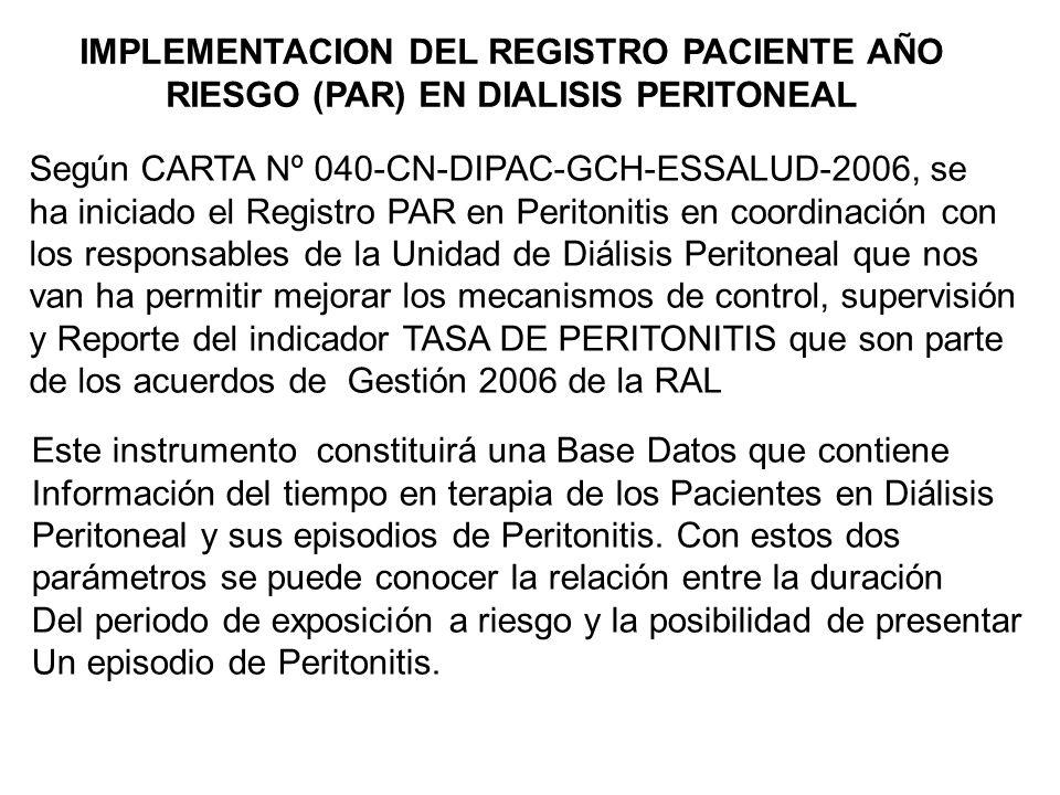 IMPLEMENTACION DEL REGISTRO PACIENTE AÑO RIESGO (PAR) EN DIALISIS PERITONEAL Según CARTA Nº 040-CN-DIPAC-GCH-ESSALUD-2006, se ha iniciado el Registro