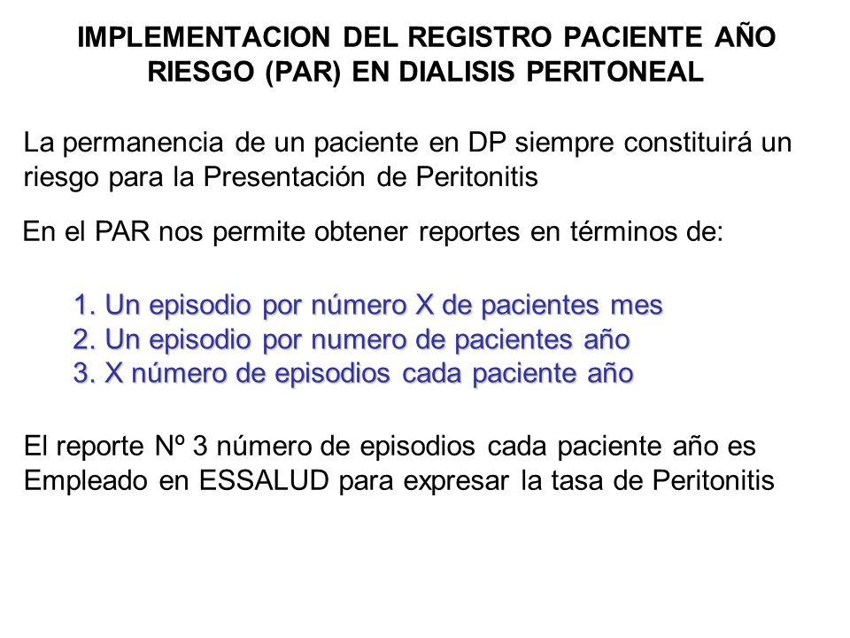 IMPLEMENTACION DEL REGISTRO PACIENTE AÑO RIESGO (PAR) EN DIALISIS PERITONEAL ALCANCE Todas y cada una de las unidades de DP de las diferentes R.A.