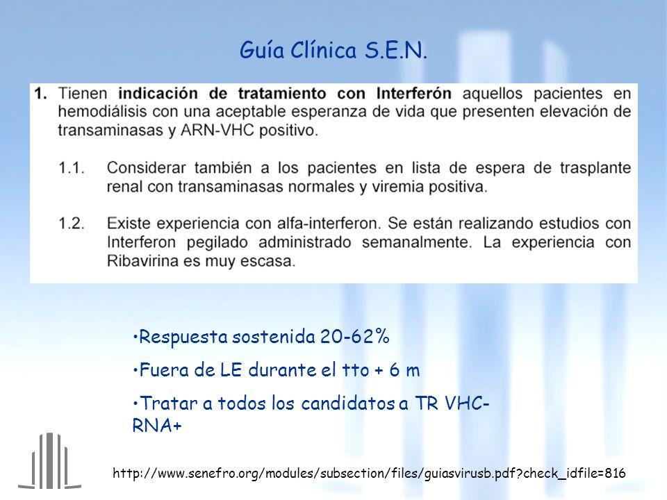 Guía Clínica S.E.N. Respuesta sostenida 20-62% Fuera de LE durante el tto + 6 m Tratar a todos los candidatos a TR VHC- RNA+ http://www.senefro.org/mo